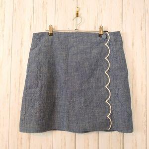 J CREW Scalloped Front Mini Skirt Size 8